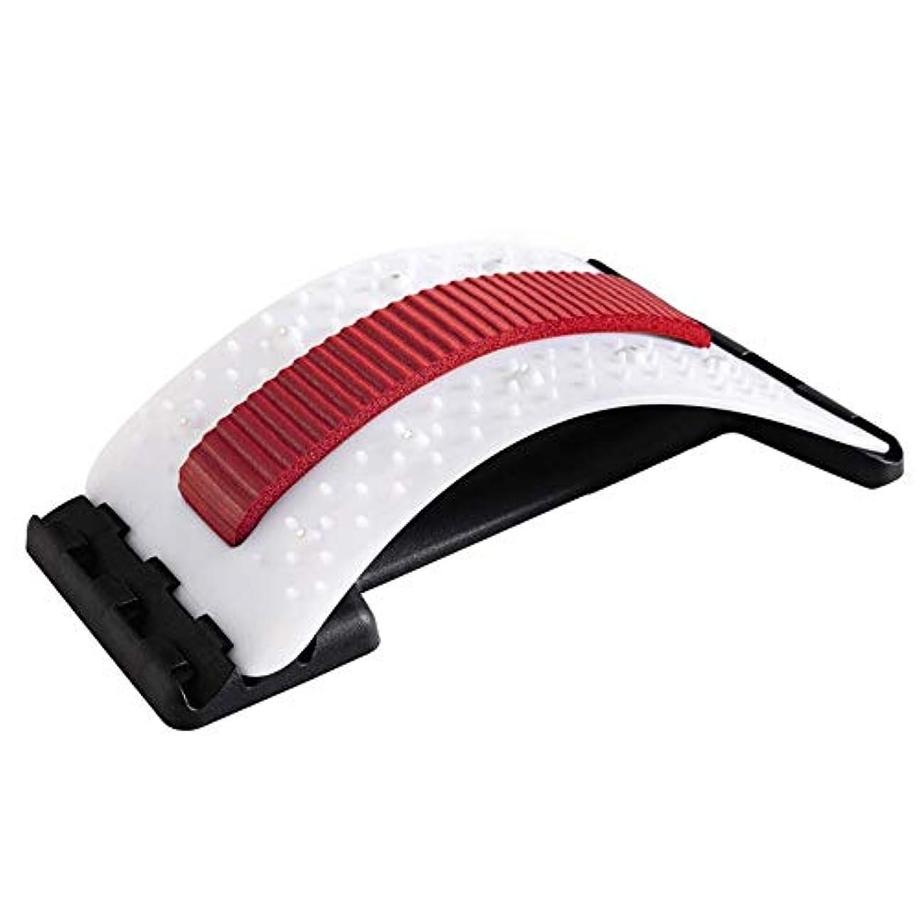 リールリールサイトライン背中バキバキ バック ストレッチャー 家庭用 バックオフィスチェアのサポート態勢マッサージャーストレッチャー、バックマジック背もたれ低い腰の痛み鍼戻ります (Color : Red and white)