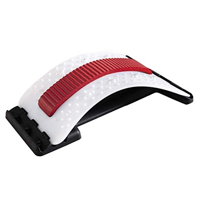 ファンブル浴室賢明な背中バキバキ バック ストレッチャー 家庭用 バックオフィスチェアのサポート態勢マッサージャーストレッチャー、バックマジック背もたれ低い腰の痛み鍼戻ります (Color : Red and white)