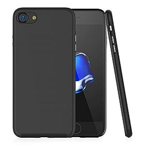 iPhone 7 ケース Cindick二重構造 耐衝撃バンパーケース 耐汚れハードケース アイフォン7ケースカバー (iPhone 7, ブラック)