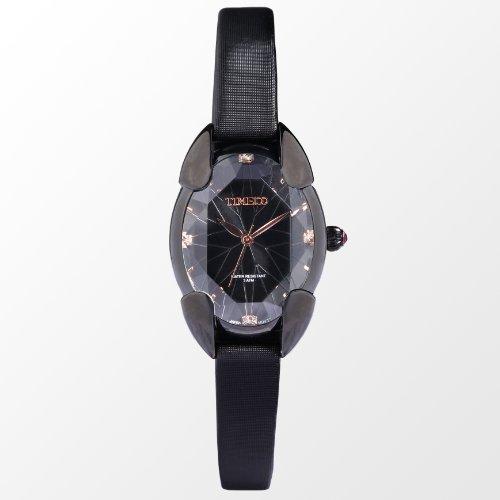 Time100 多面ひし形クリスタル サテンバンド 日本製クオーツ(SEIKOPC21Movt) レディース腕時計 ブラック#W50010L.04A