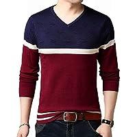 [ヴォンヴァーグ] セーター ニット Vネック 3色 カラー ライン デザイン プルオーバー 長袖 トップス メンズ