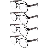 Eyekepper 4-Pack Round Full Coverage Ultrathin Flex Frame Reading Glasses Readers Black Frame Tortoise Arms +1.75