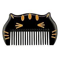 櫛 ヘアブラシ ネコ型クシ BESTOOL 天然角櫛 マッサージ櫛 高品質 (黄色の猫)