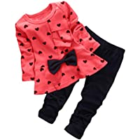 Asherangel Baby Toddler Girl Cute 2pcs Set Children Clothes Suit Top and Pants