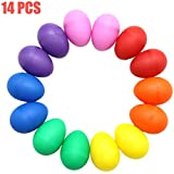 AQUEENLY Egg Shakers Set, 14 PCS Maracas Eggs Plastic Percussion Musical Egg for Party Supplies Toys, 7 Colors