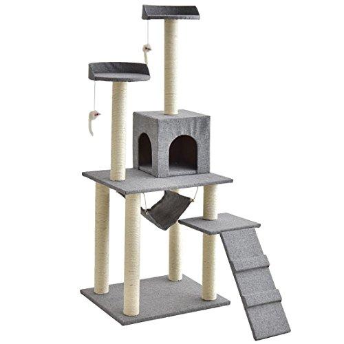 タンスのゲン キャットタワー 150cm 支柱4本 据え置き ハンモック 爪研ぎ 麻紐 紐付き ファブリック グレー...