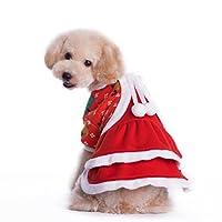 ドッグウェア クリスマス 犬服 ペット服 女の子 ワンピース 犬用コスチューム サンタクロース 仮装 可愛い ふわふわ 厚い 防寒 秋冬 小型犬 中型犬 パーティー お散歩 部屋着 お出かけ XS