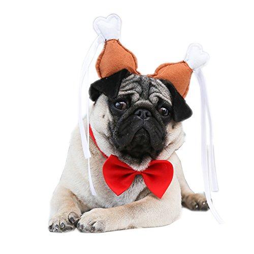 AWHAO 犬用 犬耳 ヘアバンド ニワトリのモモ肉柄  コスプレ 誕生日 お祝い 宴会 犬耳カチューシャ S