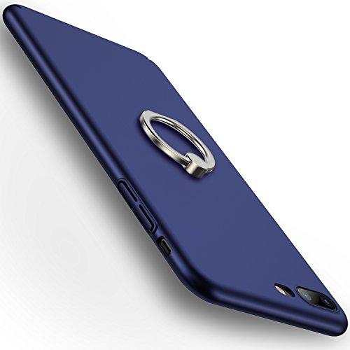 iPhone7Plusケース スマホケース アイフォン7用カバー リング付き 360度回転可能 超薄型 簡単でおしゃれ 手触り良い (iPhone 7 Plus,ブルー)【RANVOO Authorized】