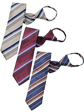 BUSINESSMAN SUPPORT(ビジネスマンサポート) ワンタッチネクタイ ジップ式簡単ネクタイ 3本セット 大剣幅7.5cm zip-a123set
