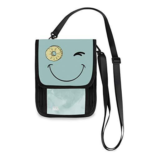 (VAWA) パスポートケース ポシェット かわいいバッグ スマイル パイナップル 青い スマホポーチ おしゃれ スキミング防止 人気 ミニ財布 薄型 軽い 携帯斜めがけ 首下げ 2way ストラップ長さ調節可能 男女兼用