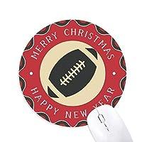 フットボールのスポーツは、単純な幾何学のパターン 円形滑りゴムのクリスマスマウスパッド