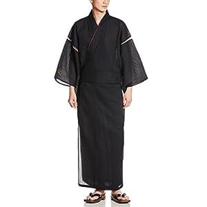 (カブク)KABUKU メンズ浴衣4点セット(浴衣、帯、下駄、巾着) 亀甲繋ぎ柄 KBK-1007 Black Brown Mサイズ M