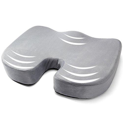 座布団 クッション 腰痛対策 低反発座布団 - AYSHTR 健康クッション ふんわり 尾骨保護 腰楽 おしり楽 姿勢矯正 ドーナツ型設計 椅子用 オフィス用 車用 (グレー)