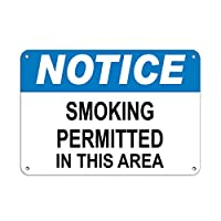 Hypothesis 30x20cm 警告ポスター ブリキ 看板 Notice Smoking Permitted In This Area Notice Signs がいる壁の装飾用のティンサイン