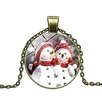 GuDeKe ユニセックス ジュエリー アクセサリー ブロンズ ラウンド型 ガラス クリスマス 雪だるま ペンダント スノーマン ネックレス メリークリスマス (H)