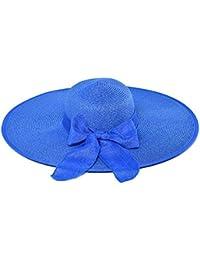 YXI ビーチハット女性の麦わら帽子折りたたみ可能な広い玉縁ボヘミアホリデー (色 : Sapphire color)