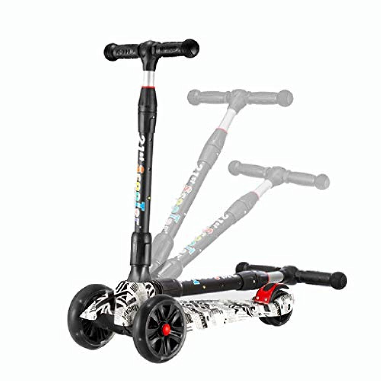 子供スクーター、子供キックスクーター玩具3 led点滅ホイール高速折りたたみ調節可能な高さミニ男の子女の子屋外3-14歳