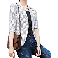 neveraway Women One Button Strip Trendy OL Office Slim Suit Jacket Blazer Coat