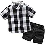 YAYARUNKA ベビー服 男の子 スーツ tシャツ 半袖 ハーフパンツ 2点セット チェック 薄手 春夏 size 90 (チェック柄)