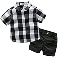 YAYARUNKA ベビー服 男の子 スーツ tシャツ 半袖 ハーフパンツ 2点セット チェック 薄手 春夏 size 80 (チェック柄)