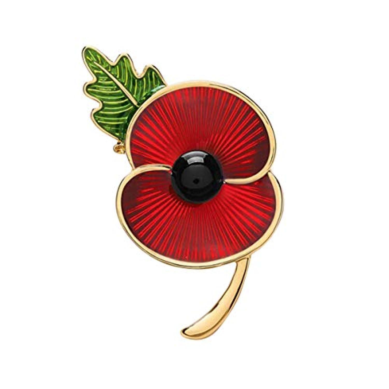 BESTOYARD ポピーフラワーブローチエナメル襟ピンピン合金レッドバッジブローチピン記念日メモリアルデーエナメルラペルピン退役軍人デーギフト(ゴールデンエッジ)