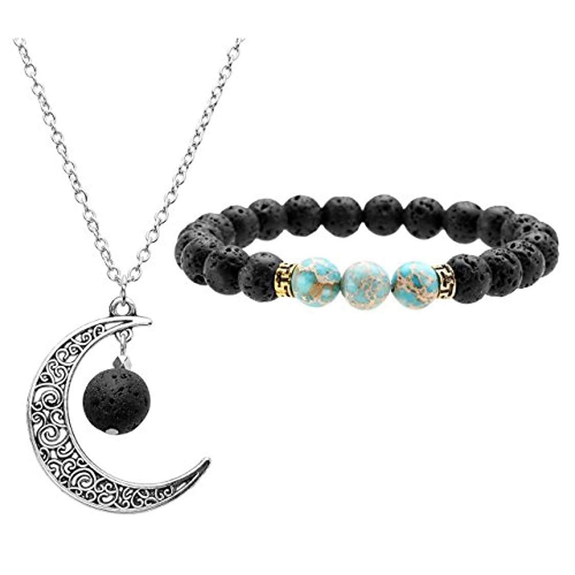 ヒット避難する明るくするJOVIVI Lava Stone Aromatherapy Essential Oil Diffuser Necklace Bracelet Set- Crescent Moon Jewellery