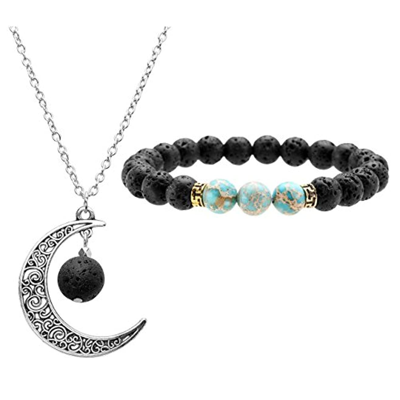 ストライド原子炉コンソールJOVIVI Lava Stone Aromatherapy Essential Oil Diffuser Necklace Bracelet Set- Crescent Moon Jewellery