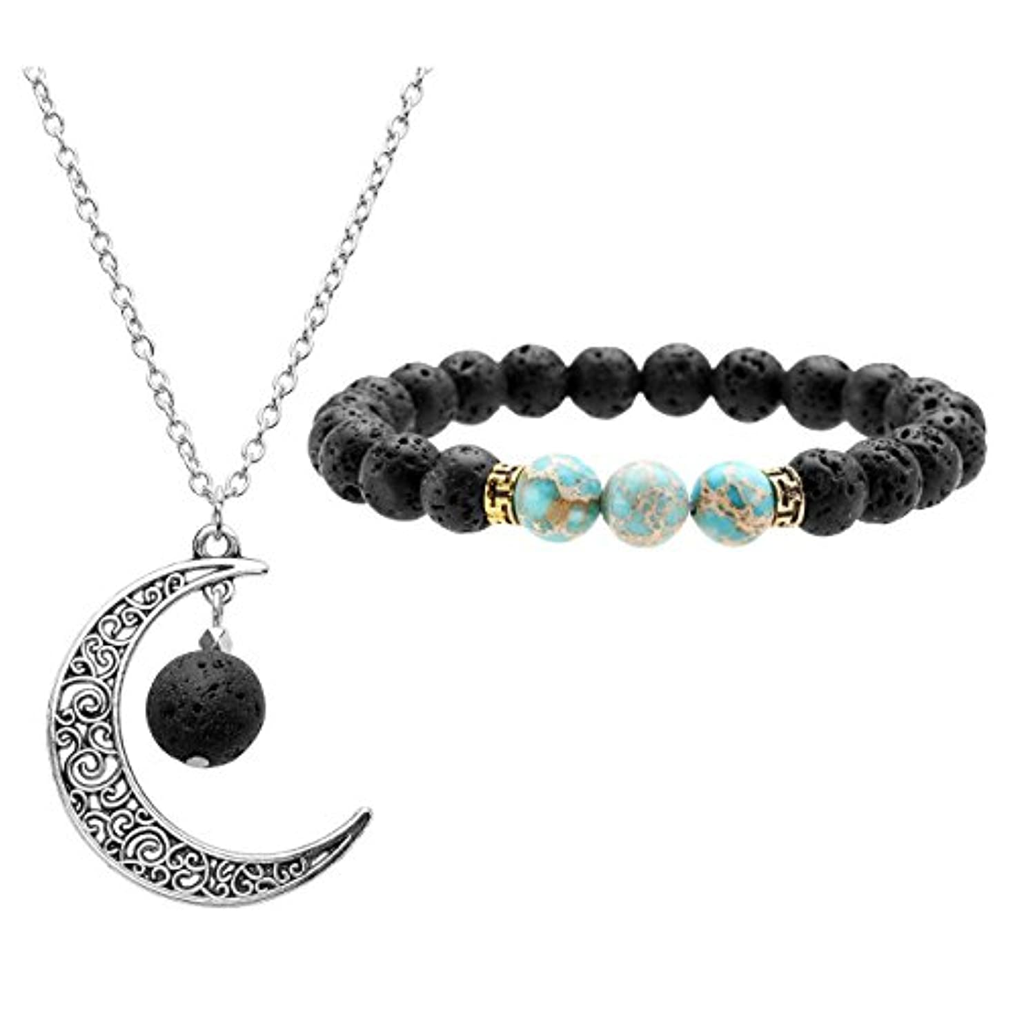 JOVIVI Lava Stone Aromatherapy Essential Oil Diffuser Necklace Bracelet Set- Crescent Moon Jewellery