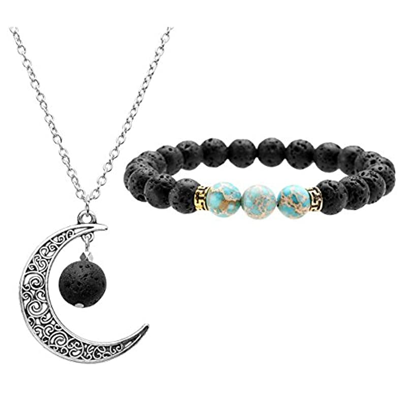 蜜ユーモラス政策JOVIVI Lava Stone Aromatherapy Essential Oil Diffuser Necklace Bracelet Set- Crescent Moon Jewellery