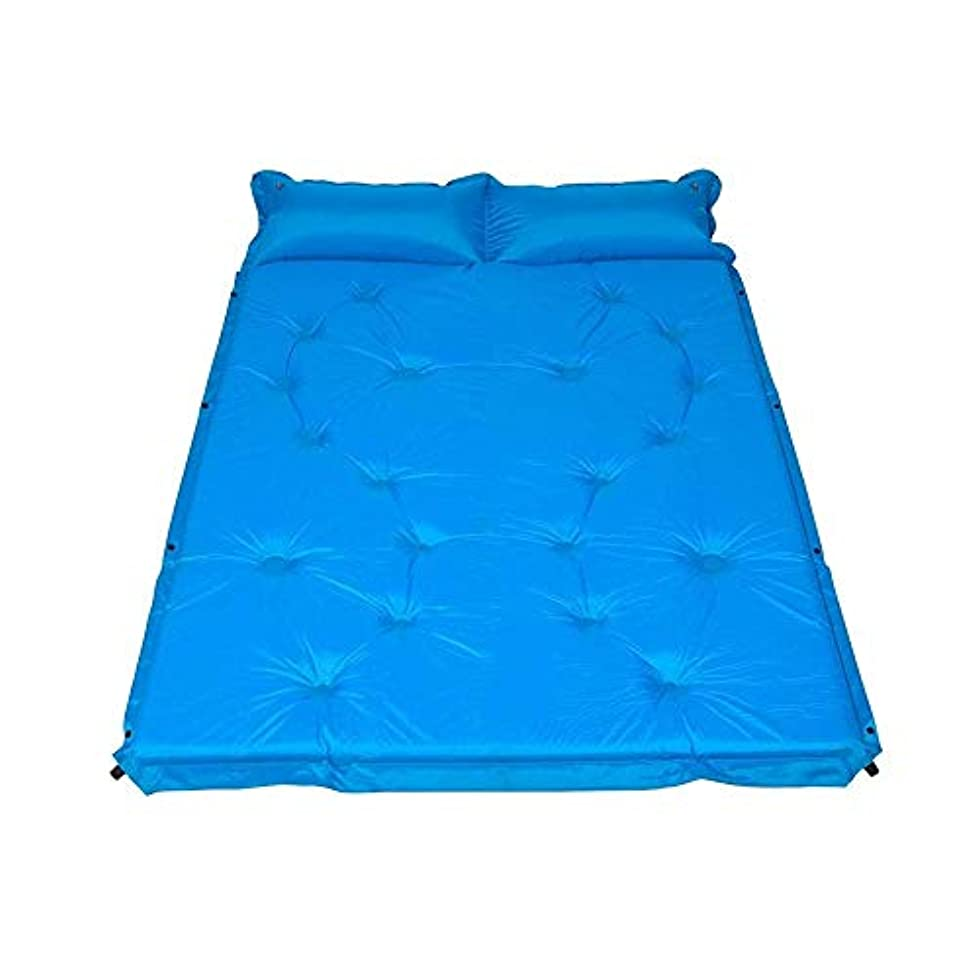 申込み若さマットJKLL 2人用キャンプ用快適な枕付きダブル自己膨張式スリーピングパッド、ハイキング、ビーチ