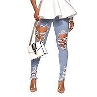 sayahe 女性の洗浄ロングパンツバットリフトセクシーホールプラスサイズヒップホップジーンズ Light Blue XS