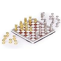 ビンテージドールハウスミニチュアARTISTメタルチェスボードセットPlay Game Toys 1 : 12