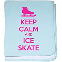 CafePress – Keep Calm and Ice Skate – スーパーソフトベビー毛布、新生児おくるみ ブルー 069400547825CD2