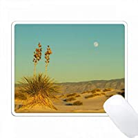 アメリカ、ニューメキシコ、ホワイト・サンド国立記念碑。砂漠の上のムーンライズ。 PC Mouse Pad パソコン マウスパッド