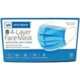 Wovenx - FDA Registered, ASTM Level 3 Face Mask, Pleated, Blue, 4 Ply-50 Pack