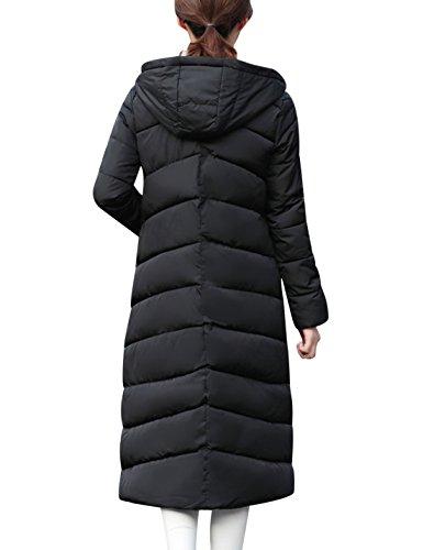 Tanming Women's Winter Slim Warm Cotton Padded Long Hooded Jacket Coat Outerwear - Black - Large