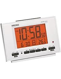 セイコー クロック 目覚まし時計 電波 デジタル 自動点灯 カレンダー 温度 表示 銀色 メタリック SQ780S SEIKO