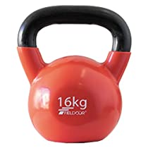 FIELDOOR ケトルベル 16kg PVCコーティング 音軽減 キズ防止 体幹トレーニング