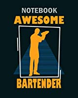 Notebook: retro bartender graphic - 50 sheets, 100 pages - 8 x 10 inches