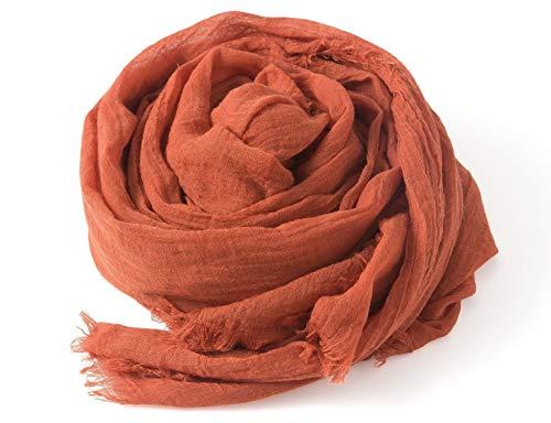 モダール シルク 大判 ストール ソリッドカラー ショール 細さ ふんわり 柔らか 肌触り 爽やか (コッパーオレンジ)