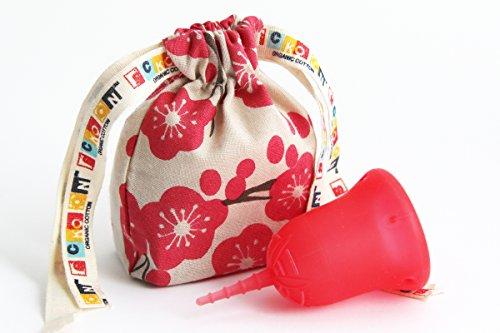 月経カップ スクーンカップ スーパー ソフトで量の多い日も安心 ナプキンやタンポン に代えてレギュラーやライトの日も使える生理用品 オーガニックコットンポーチつき ウェルネス(赤) サイズ1 未経産婦用