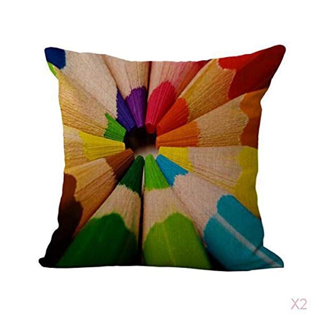 FLAMEER 鉛筆プリントコットンリネンスローピローケース虹クッションカバー装飾