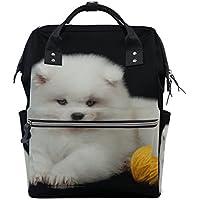 ママバッグ マザーズバッグ リュックサック ハンドバッグ 旅行用 サモエド犬柄 かわいい ファション