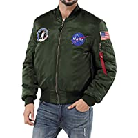 sandbank Men's USA Flag Lightweight MA-1 Flight Bomber Jacket Windbreaker