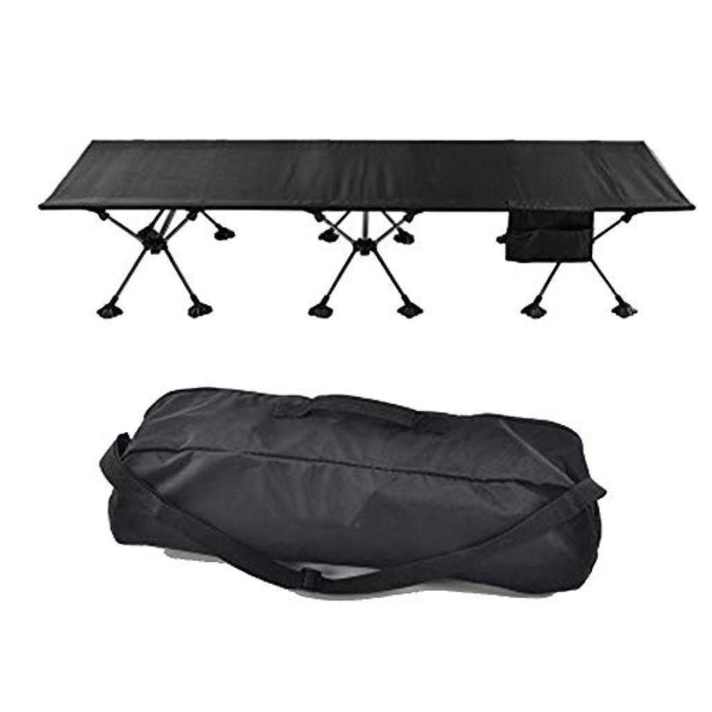 土すぐに水を飲む屋外のアルミシングルベッドキャンプベッドオフィスの昼休みに伴うキャンプキャンプ折りたたみベッド (Color : Black)