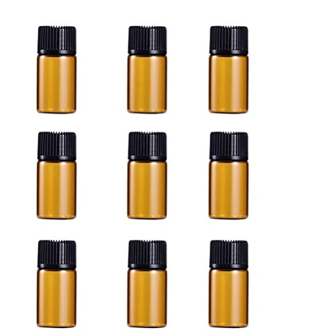 モジュール胸水星WINOMO 遮光瓶 アロマオイル 精油 小分け用 遮光瓶セット アロマボトル 保存容器 エッセンシャルオイル 香水 保存用 詰替え ガラス 茶色(9個入り 3ml)