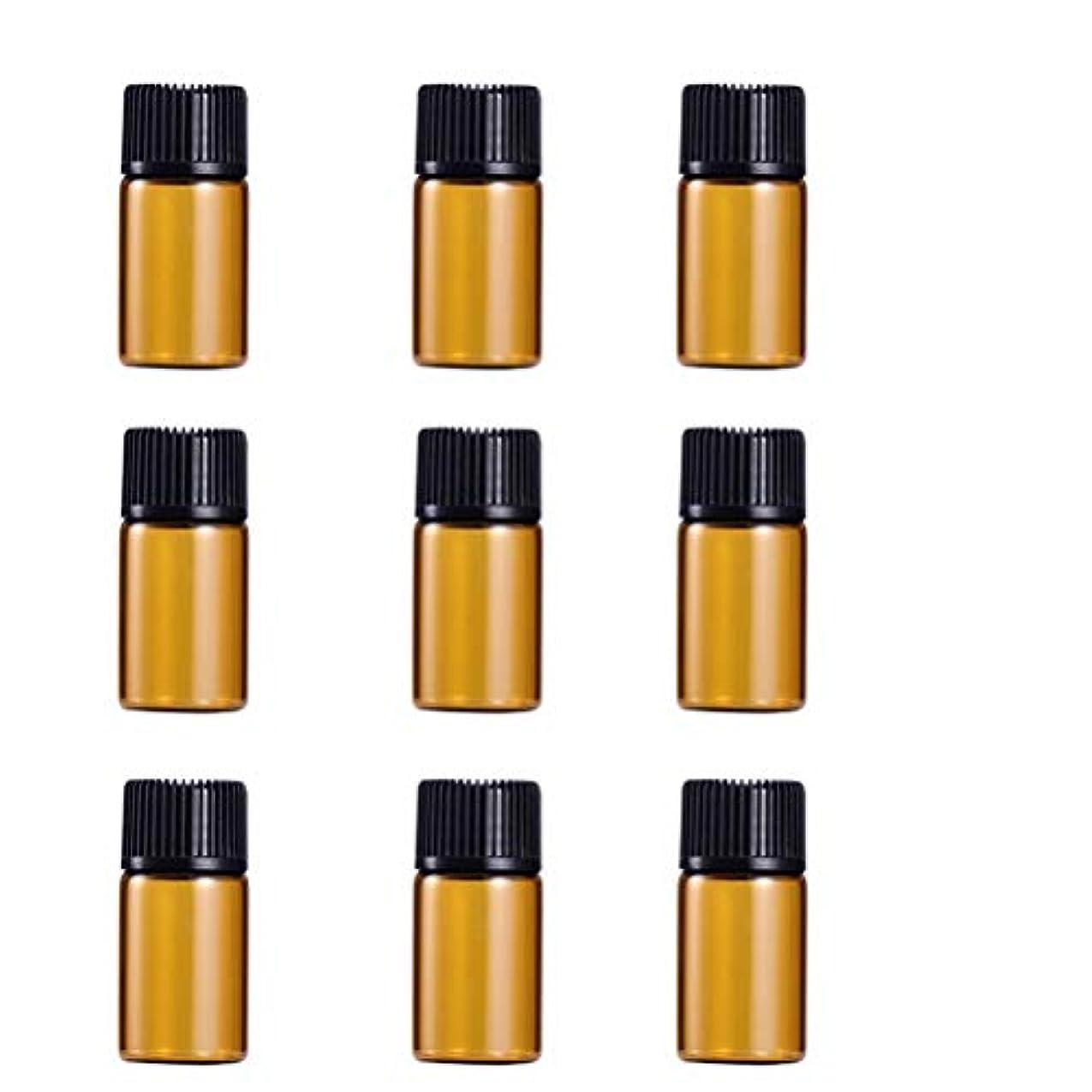 ここに市区町村歯科のWINOMO 遮光瓶 アロマオイル 精油 小分け用 遮光瓶セット アロマボトル 保存容器 エッセンシャルオイル 香水 保存用 詰替え ガラス 茶色(9個入り 3ml)