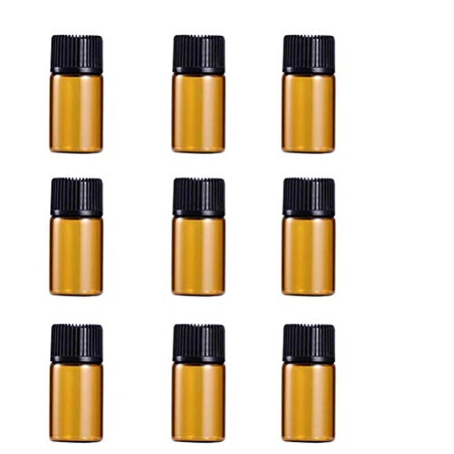 で出来ているテナント配送WINOMO 遮光瓶 アロマオイル 精油 小分け用 遮光瓶セット アロマボトル 保存容器 エッセンシャルオイル 香水 保存用 詰替え ガラス 茶色(9個入り 3ml)