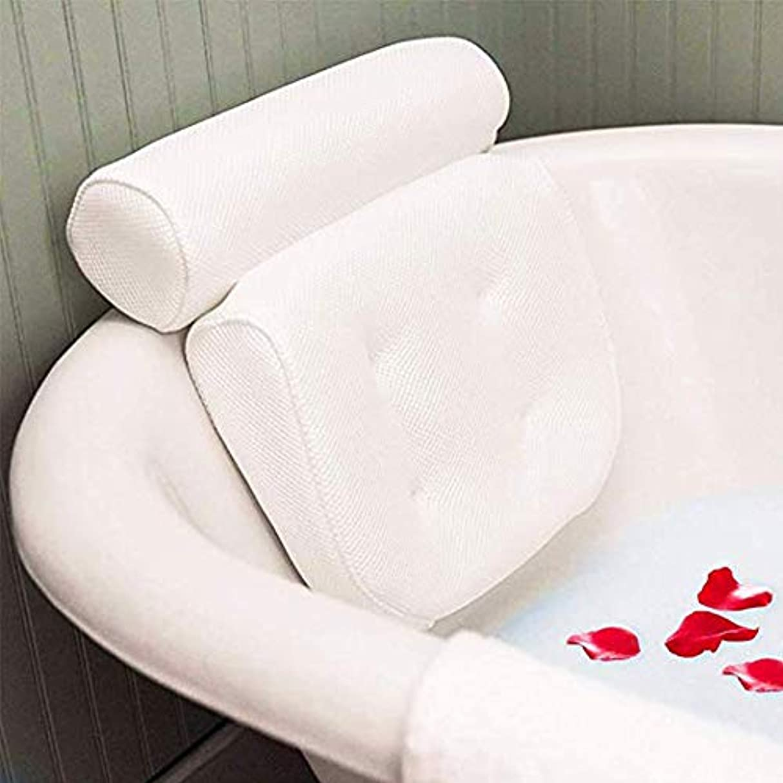 提供するきつく起きる頭、首、肩と背中のサポートが付いている浴槽スパ枕、滑り止め4大型サクションカップはどんな浴槽にもフィットし、抗菌性です。,White